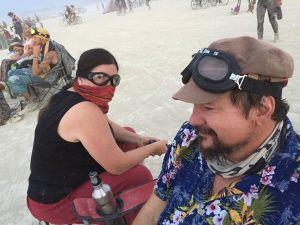 Ted and his wife at Burning Man