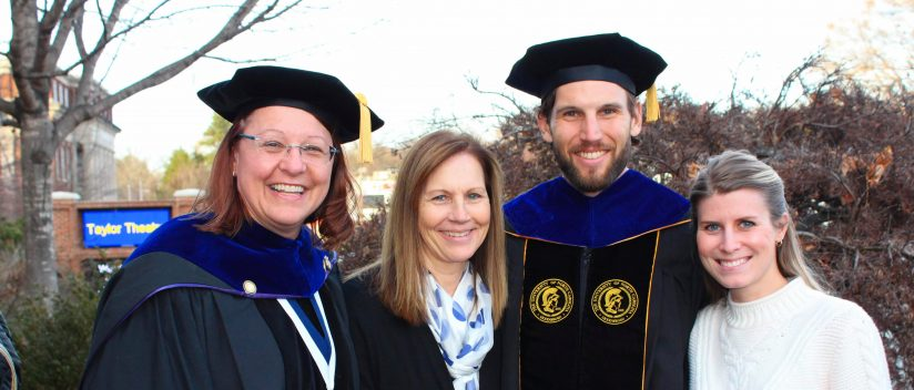 Nate Berry pictured with (from left to right) mentor, Dr. Laurie Wideman, mother Karen Berry, and wife Rachel Berry.